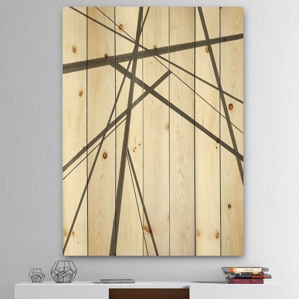 Designart 'minimalist black and white III' Transitional Print on Natural Pine Wood