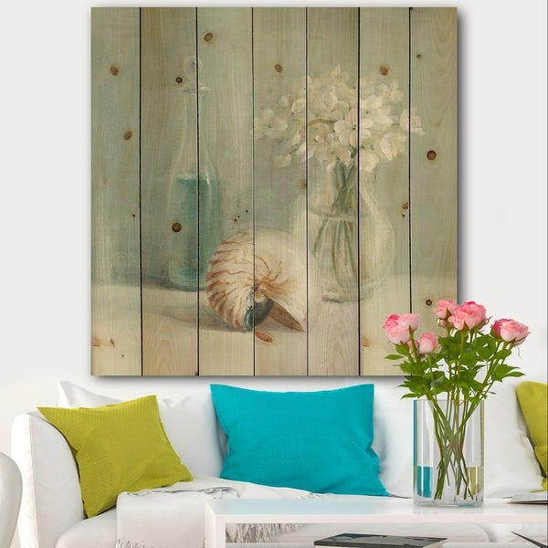 Designart 'Pastel Bath IV' Farmhouse Print on Natural Pine Wood - Blue