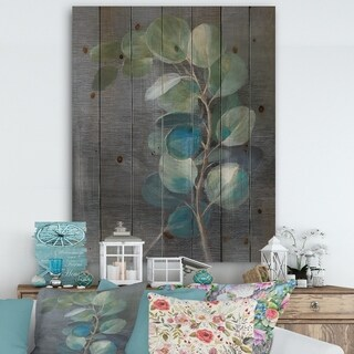 Designart 'Fresh leaves II' Traditional Print on Natural Pine Wood - Blue