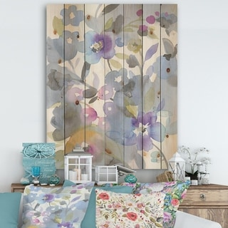 Designart 'Jewel Garden II' Modern Farmhouse Print on Natural Pine Wood - Purple