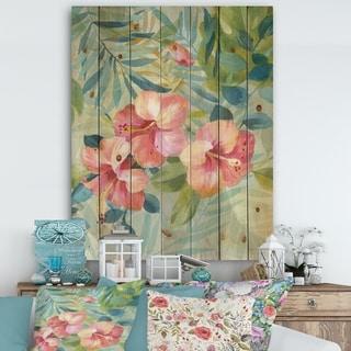 Designart 'Hibiscus Garden III' Traditional Print on Natural Pine Wood - Green/Pink