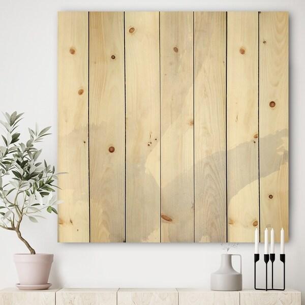 Designart 'minimal geometric Zen III' Transitional Print on Natural Pine Wood - Grey