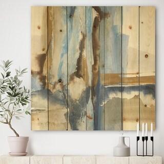Designart 'River Run II' Modern & Contemporary Print on Natural Pine Wood - Blue