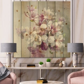 Designart 'Pink Magnolia Flowers' Shabby Chic Print on Natural Pine Wood - Grey