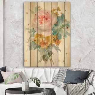 Designart 'Multicolor French Bouquet I' Farmhouse Print on Natural Pine Wood - Multi-color