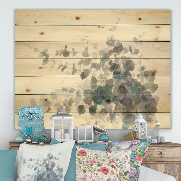 Designart 'Grey Watercolor Flower II' Traditional Print on Natural Pine Wood - Grey