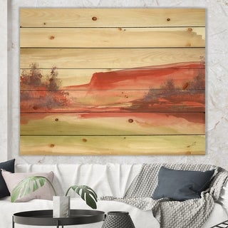 Designart 'Red Rock III' Traditional Print on Natural Pine Wood - Red
