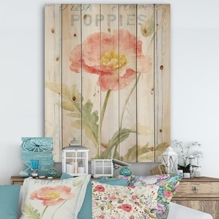 Designart 'Floursack Florals IV' Cottage Print on Natural Pine Wood - Green/Red