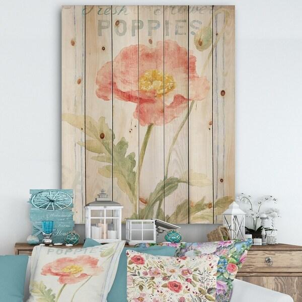 Designart 'Floursack Florals IV' Cottage Print on Natural Pine Wood - Green/Red