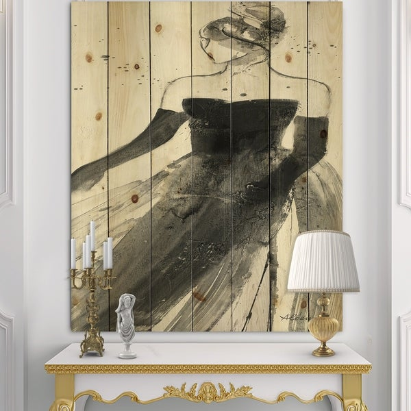 Designart 'Glam Dancing II' Fashion Figures Print on Natural Pine Wood - Black