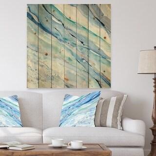 Designart 'Blue Silver Spring I' Modern Lake House Print on Natural Pine Wood - Blue