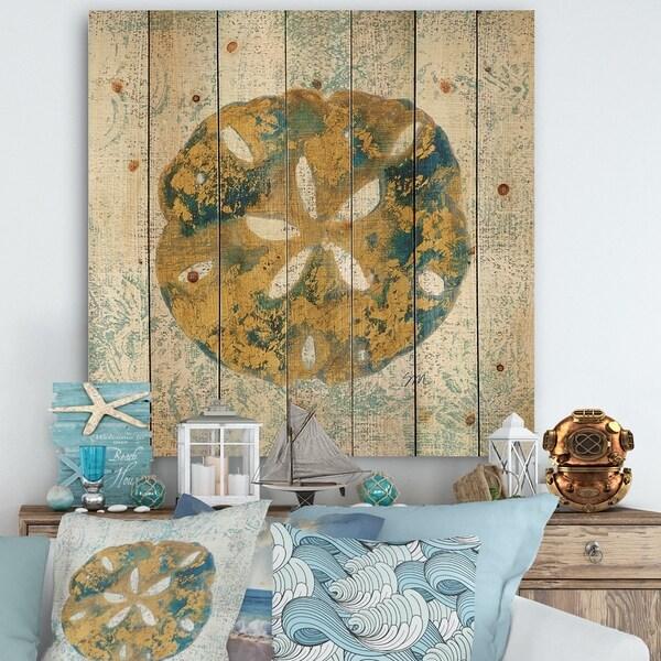 Designart 'Coastal Pastel seashells II' Vintage Nautical Print on Natural Pine Wood - Blue