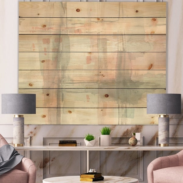 Designart 'Intersect II Grey' Pink Modern Print on Natural Pine Wood - Grey