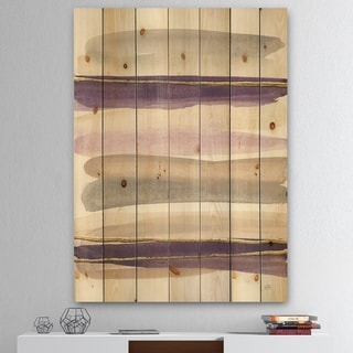 Designart 'Shape of Glam Purple' Shabby Chic Print on Natural Pine Wood - Multi-color
