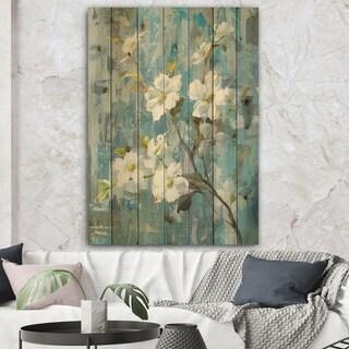 Designart 'Pastel Magnolia II' Floral & Botanical Print on Natural Pine Wood - Blue