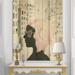 Designart 'Glam Pink Ladies IV' Fashion Print on Natural Pine Wood - Black