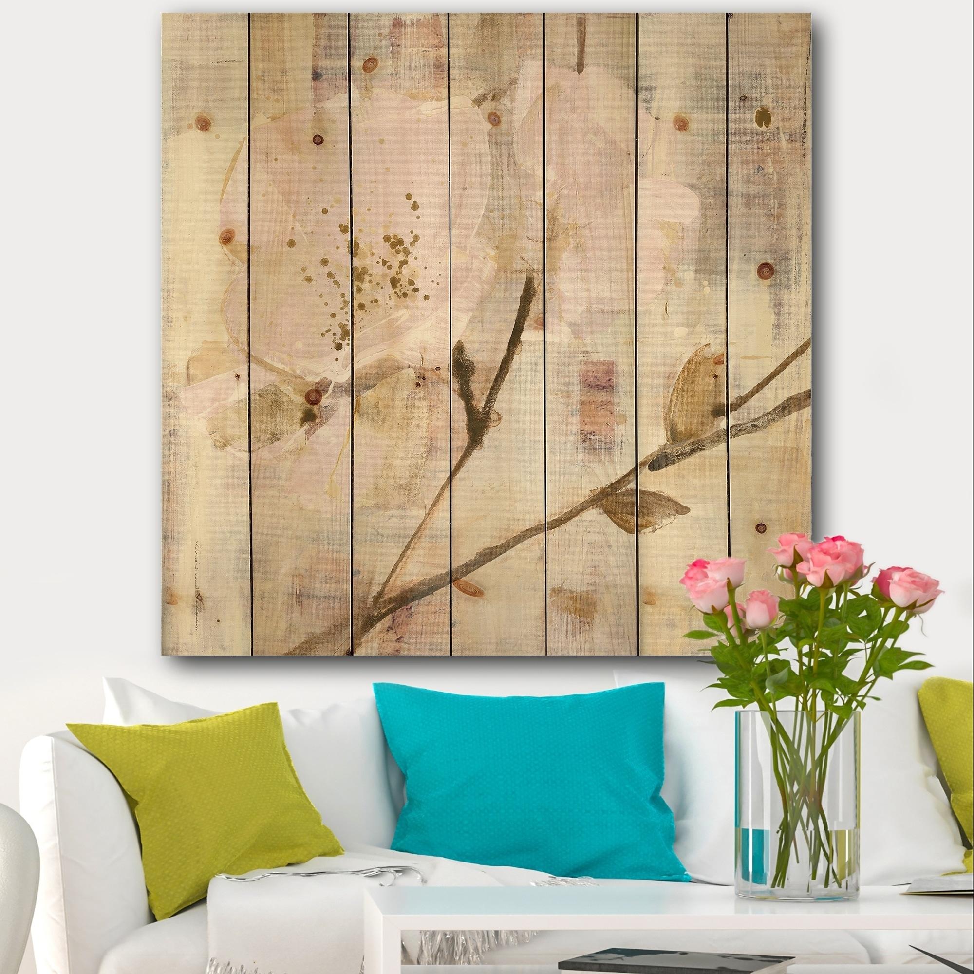 Designart Elegance I Pink Shabby Chic Print On Natural Pine Wood Multi Color