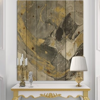 Designart 'Marble Gold and Black II' Modern & Contemporary Print on Natural Pine Wood - Grey
