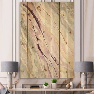 Designart 'Shaby Pink Marble' Sleek & Chic Modern Print on Natural Pine Wood - Grey