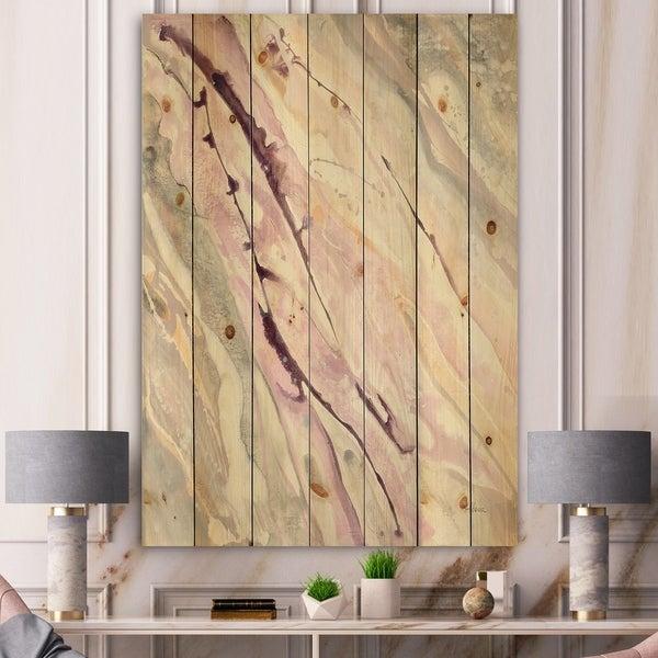 Designart 'Shaby Pink Marble' Sleek & Chic Modern Print on Natural Pine Wood - Grey