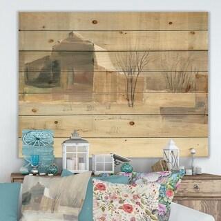 Porch & Den Winter on the Farm house' Landscape Print on Natural Pine Wood