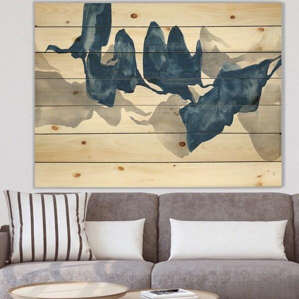 Designart 'Gouache Sapphire on Gray' Modern & Contemporary Print on Natural Pine Wood - Blue