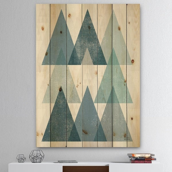 Designart 'minimal Triangles IV Blue' Mid-Century Modern Print on Natural Pine Wood - Blue