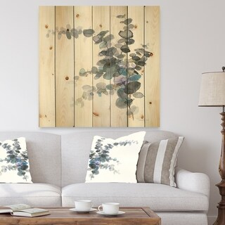 Designart 'Grey Watercolor Flower III' Traditional Print on Natural Pine Wood - Grey