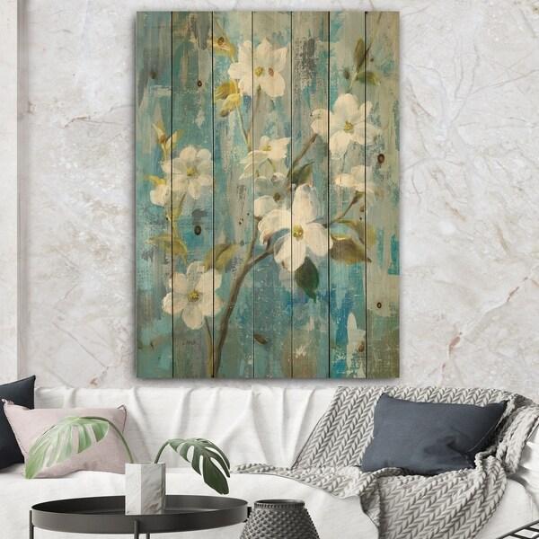 Designart 'Pastel Magnolia I' Floral & Botanical Print on Natural Pine Wood - Blue