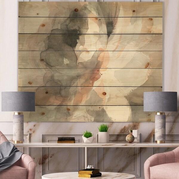 Designart 'Abstract Peony Grey' Pink Modern Print on Natural Pine Wood - Grey