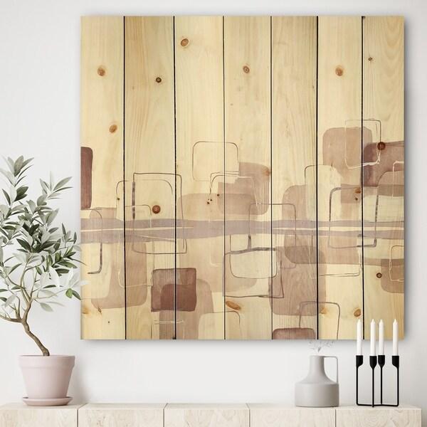 Designart 'Watercolor Minimal Boxes II' Modern Print on Natural Pine Wood - Brown/Pink