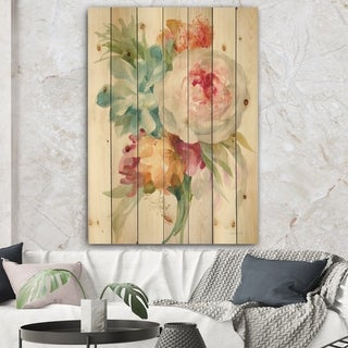 Designart 'Multicolor French Bouquet II' Farmhouse Print on Natural Pine Wood - Multi-color
