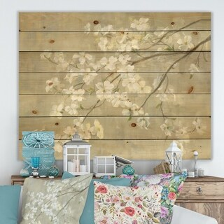 Designart 'Dogwood in Spring Neutral' Farmhouse Print on Natural Pine Wood - Grey/Brown