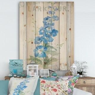 Designart 'Floursack Florals VII' Cottage Print on Natural Pine Wood - Blue/Green