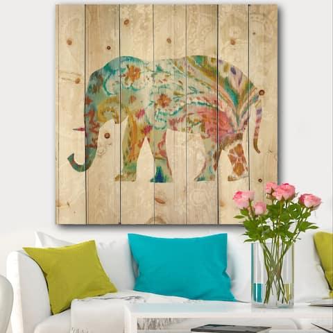 Designart 'Boho Paisley Elephant II' Bohemian & Eclectic Print on Natural Pine Wood - Multi-color