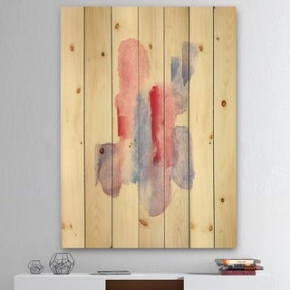 Designart 'geometric Pastel II' Mid-Century Modern Print on Natural Pine Wood - Red