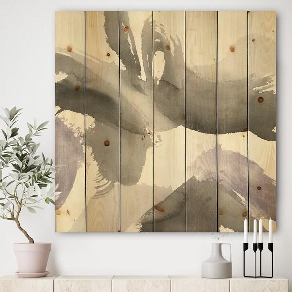Designart 'minimal geometric Gesture IV' Transitional Print on Natural Pine Wood - Grey