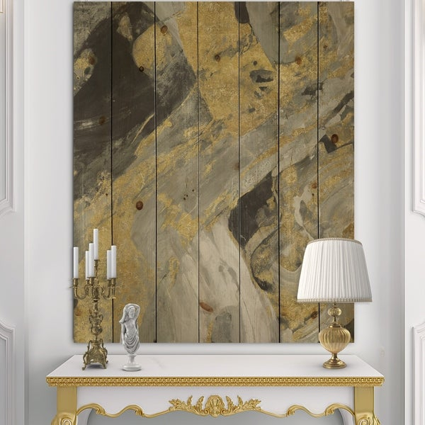 Designart 'Marble Gold and Black' Modern & Contemporary Print on Natural Pine Wood - Grey