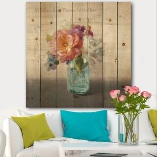 Designart 'French Cottage Bouquet I Mothers' Cottage Print on Natural Pine Wood - Grey/Blue
