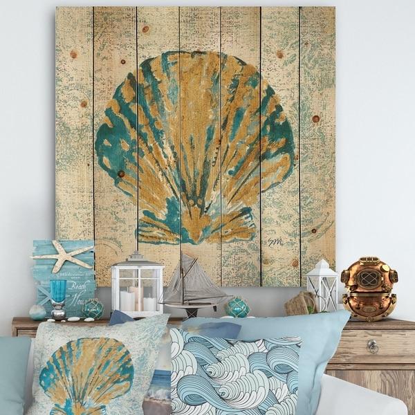 Designart 'Coastal Pastel seashells I' Vintage Nautical Print on Natural Pine Wood - Blue
