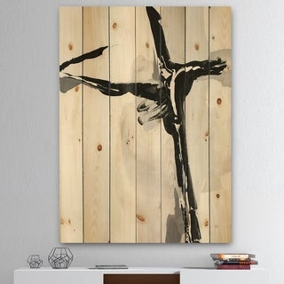 Designart 'Abstract Neutral II' Mid-Century Modern Print on Natural Pine Wood - Black