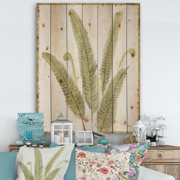 Designart 'Simple Forest II' Floral & Botanical Print on Natural Pine Wood - Green