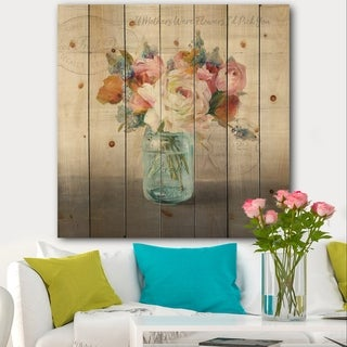 Designart 'French Cottage Bouquet II Mothers' Cottage Print on Natural Pine Wood - Grey/Blue