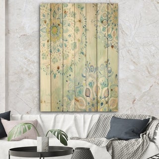 Designart 'Watercolor mandalas III' Floral & Botanical Print on Natural Pine Wood - Blue/Green