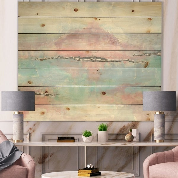 Designart 'Parfait VII' Sleek & Chic Modern Print on Natural Pine Wood - Blue/Pink
