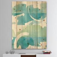 Designart 'Coastal watercolors I' Transitional Print on Natural Pine Wood - Blue