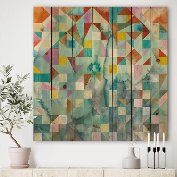 Designart 'Modern Patchwork' Modern & Contemporary Print on Natural Pine Wood - Multi-color