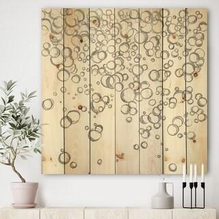 Designart 'Simple Bubbles I' Mid-Century Modern Print on Natural Pine Wood - Grey/White