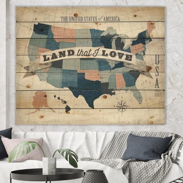 Designart 'American Map Watercolor' Map Print on Natural Pine Wood - Blue