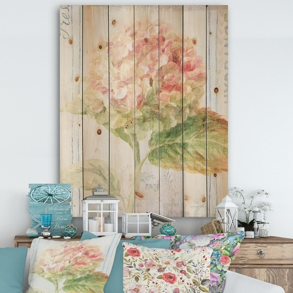 Designart 'Floursack Florals VIII' Cottage Print on Natural Pine Wood - Green/Pink